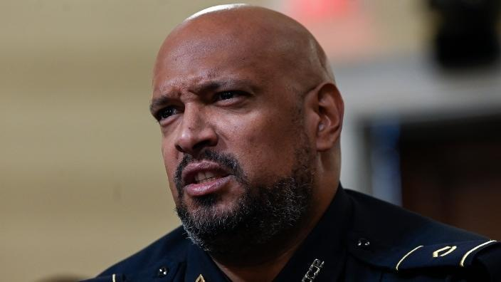 U.S. Capitol Police officer Harry Dunn testifies during Tuesday's House Select Committee hearing investigating the Jan. 6 attack on the U.S. Capitol. (Photo by Andrew Caballero-Reynolds-Pool/Getty Images)