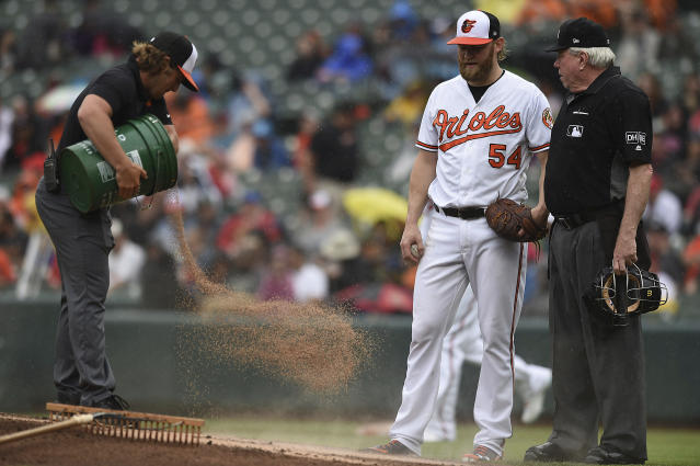 Grounds crew worker, left, applies a drying agent to the pitching mound between innings as Baltimore Orioles pitcher Andrew Cashner and home plate umpire Brian Gorman look on in the fourth inning of baseball game, Wednesday, May 16, 2018, in Baltimore. Heavy rain has been in the Baltimore area. (AP Photo/Gail Burton)