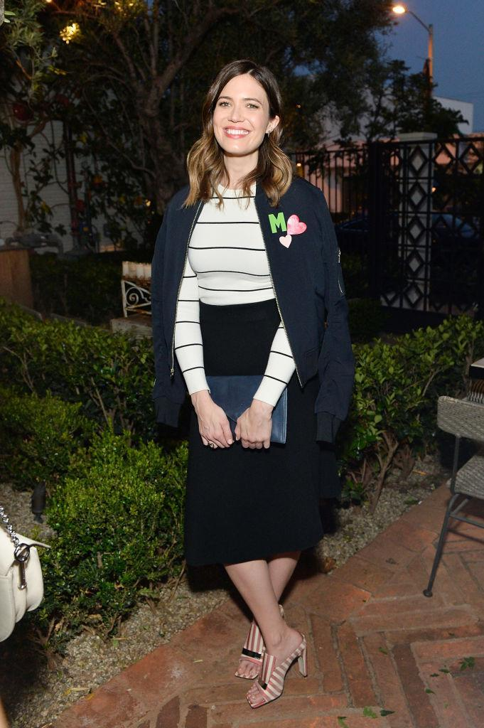 Mandy Moore in Sergio Rossi striped mules. (Photo: Getty Images)