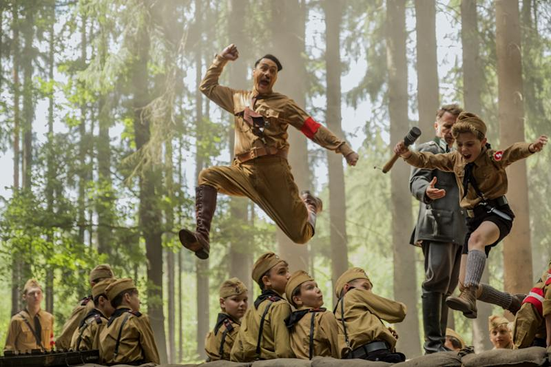 Adolf (Taika Waititi, left) and Jojo (Roman Griffin Davis) crash the hand-grenade event at a Nazi youth training weekend in