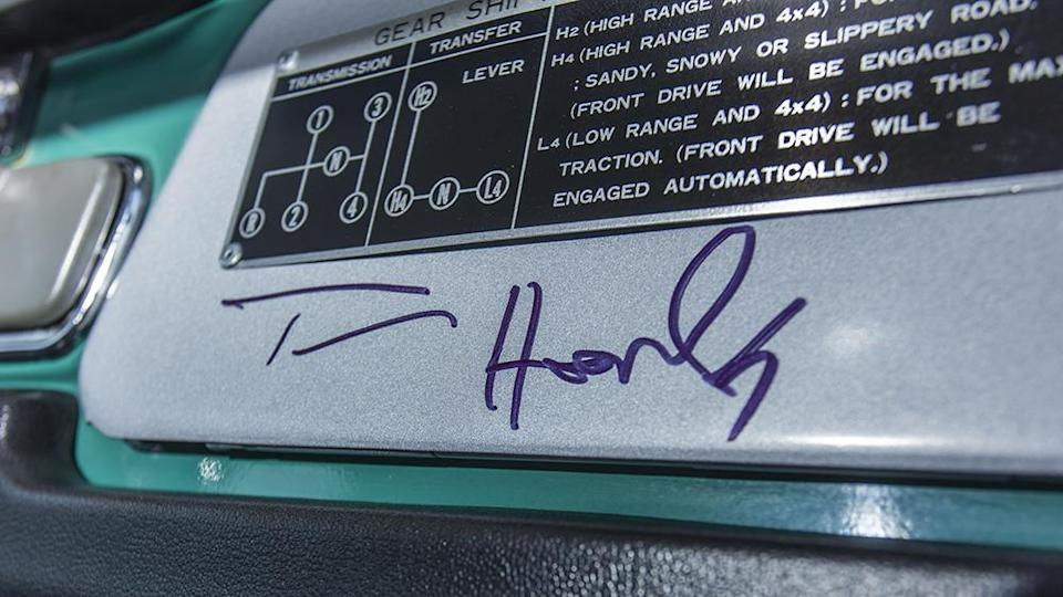 The classic car has been signed by Hanks. - Credit: Bonhams