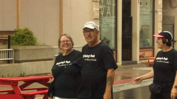 Bill Guiney, right, completed a walk across Newfoundland and Labrador on Friday in support of mental health initatives along with his wife, Susan. (CBC - image credit)