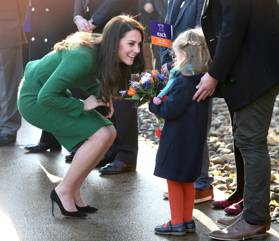 Kate Middleton, like other female members of the royal family, must wear pantyhose in public. (Photo: Getty Images)