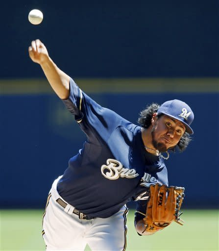 Milwaukee Brewers' Yovani Gallardo pitches to a Toronto Blue Jay batter during the first inning of a baseball game, Wednesday, June 20, 2012, in Milwaukee. (AP Photo/Tom Lynn)