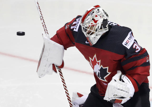 Canada's goaltender Matt Murray makes a save during the Ice Hockey World Championships group A match between Canada and the United States at the Steel Arena in Kosice, Slovakia, Tuesday, May 21, 2019. (AP Photo/Petr David Josek)