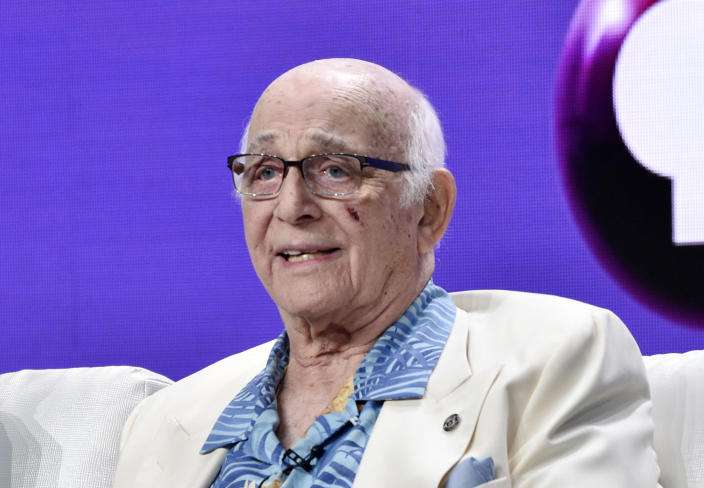 """FILE - IN this July 31, 2018 file photo shows actor Gavin MacLeod during a panel discussion on the PBS special """"Betty White: First Lady of Television"""" during the 2018 Television Critics Association Summer Press Tour at the Beverly Hilton in Beverly Hills, Calif. Gavin MacLeod has died. His nephew told the trade paper Variety that MacLeod died early Saturday, May 29, 2021. (Photo by Chris Pizzello/Invision/AP, File)"""