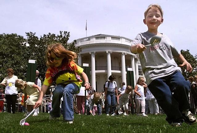 <p>Youthful White House visitors take part in the annual White House Easter Egg Roll on the South Lawn of the White House Monday April 24, 2000. (Photo: Khue Bui/AP) </p>