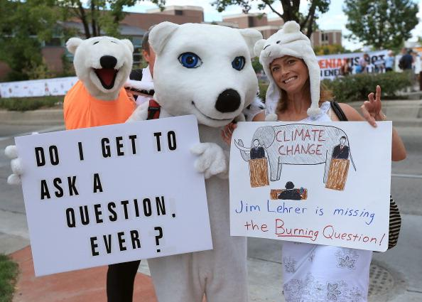 DENVER, CO - OCTOBER 03:  Demonstrators bring attention to climate change prior to the Presidential Debate at the University of Denver on October 3, 2012 in Denver, Colorado. The first of four debates for the 2012 Election, three Presidential and one Vice Presidential, is moderated by PBS's Jim Lehrer and focuses on domestic issues: the economy, health care, and the role of government.  (Photo by Doug Pensinger/Getty Images)