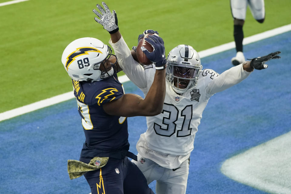Los Angeles Chargers tight end Donald Parham cannot make the catch in the end zone as Las Vegas Raiders cornerback Isaiah Johnson defends during the second half of an NFL football game Sunday, Nov. 8, 2020, in Inglewood, Calif. (AP Photo/Alex Gallardo)