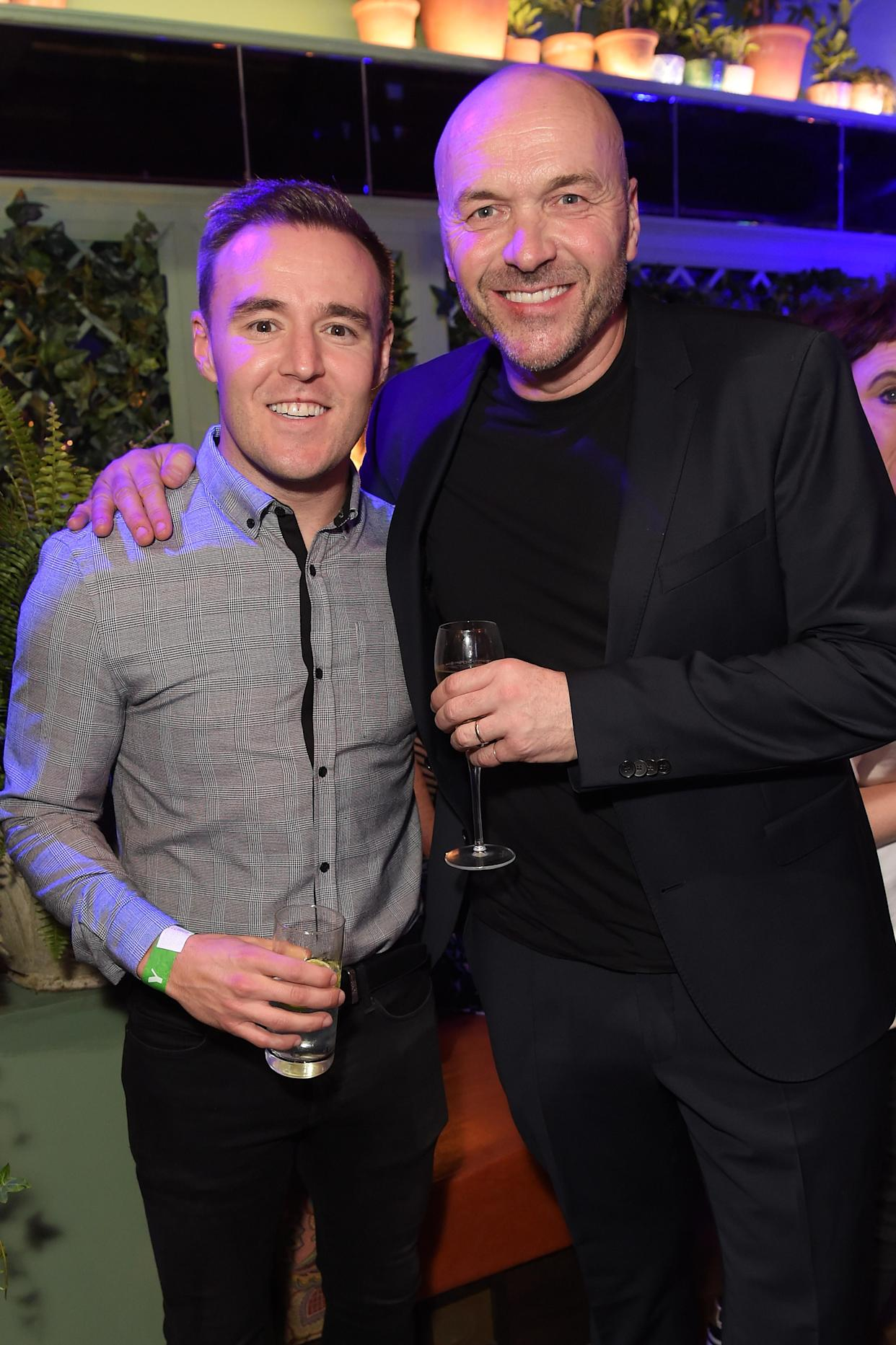 MANCHESTER, ENGLAND - NOVEMBER 23: Alan Halsall and Simon Rimmer attend The Ivy Spinningfields VIP Launch Party on November 23, 2018 in Manchester, England. (Photo by David M. Benett/Dave Benett/Getty Images for The Ivy)