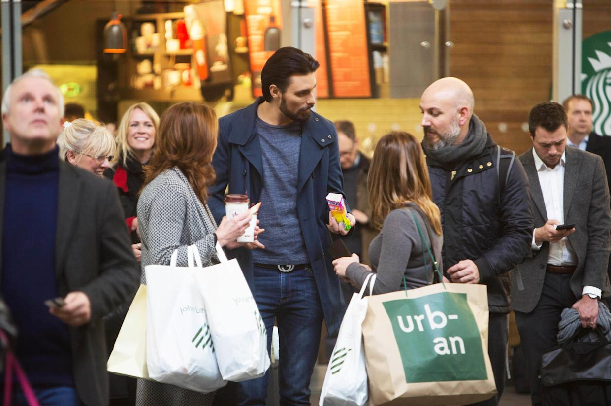 Rylan Clark-Neal meets members of the public at London King's Cross station, in association with Mentos to celebrate World Hello Day, which is on Monday November 21.