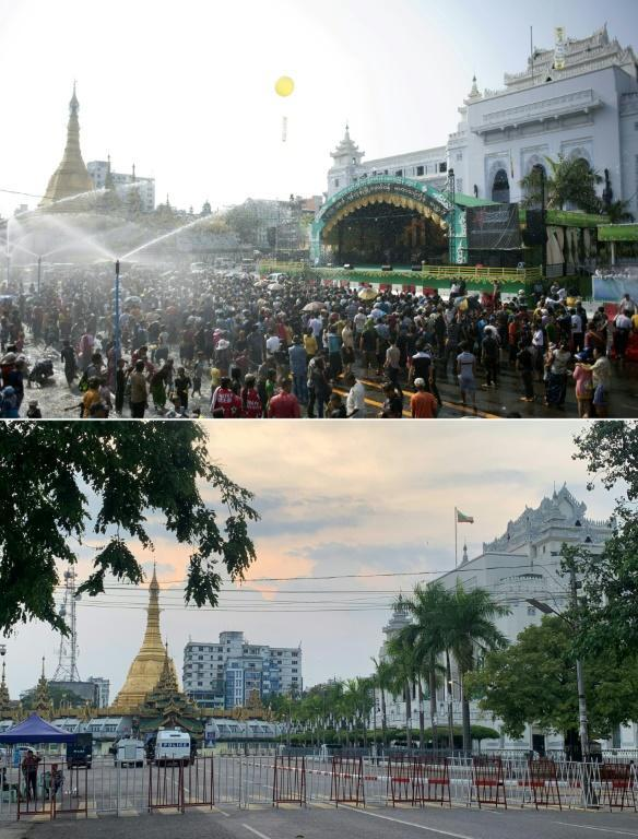The main boulevards of commercial hub Yangon were empty Thursday -- a far cry from the Thingyan celebrations of previous years