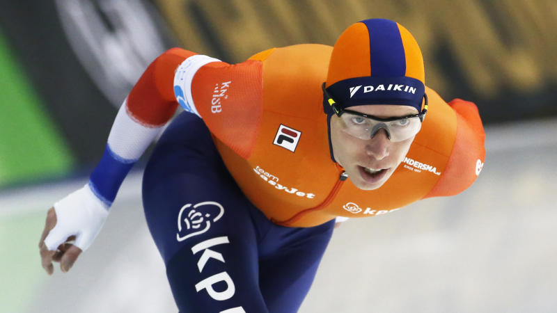Netherlands' Jorrit Bergsma competes in the men's 10,000 meters during the world single distances speedskating championships Friday, Feb. 14, 2020, in Kearns, Utah. (AP Photo/Rick Bowmer)