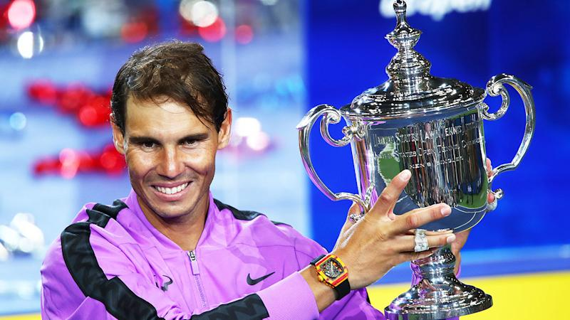 Pictured here, Rafael Nadal poses with his 2019 US Open trophy.