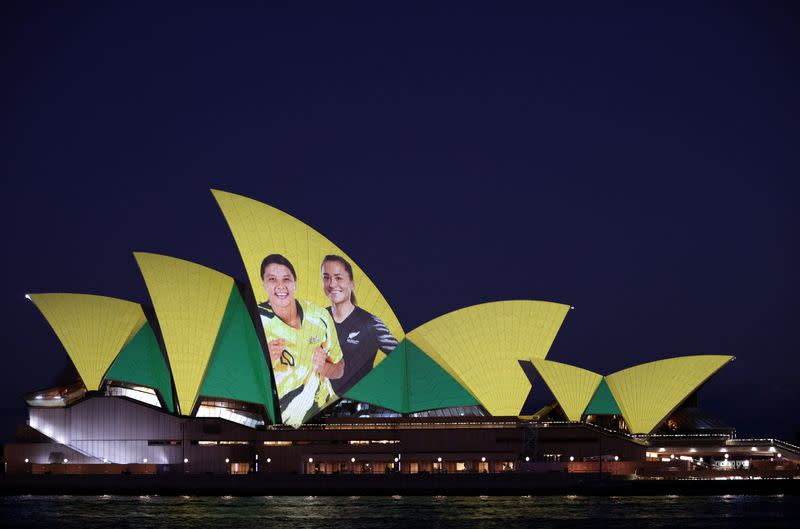The Sydney Opera House lights up in celebration of Australia and New Zealand's joint bid to host the FIFA Women's World Cup 2023, in Sydney
