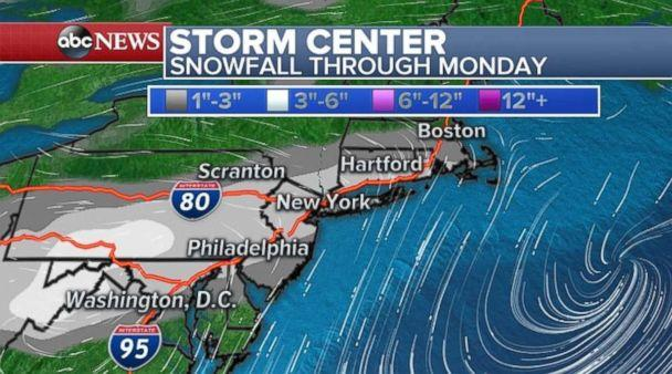 Snowfall totals won't be extreme, but the timing could cause a headache across much of the Northeast. (ABC News)