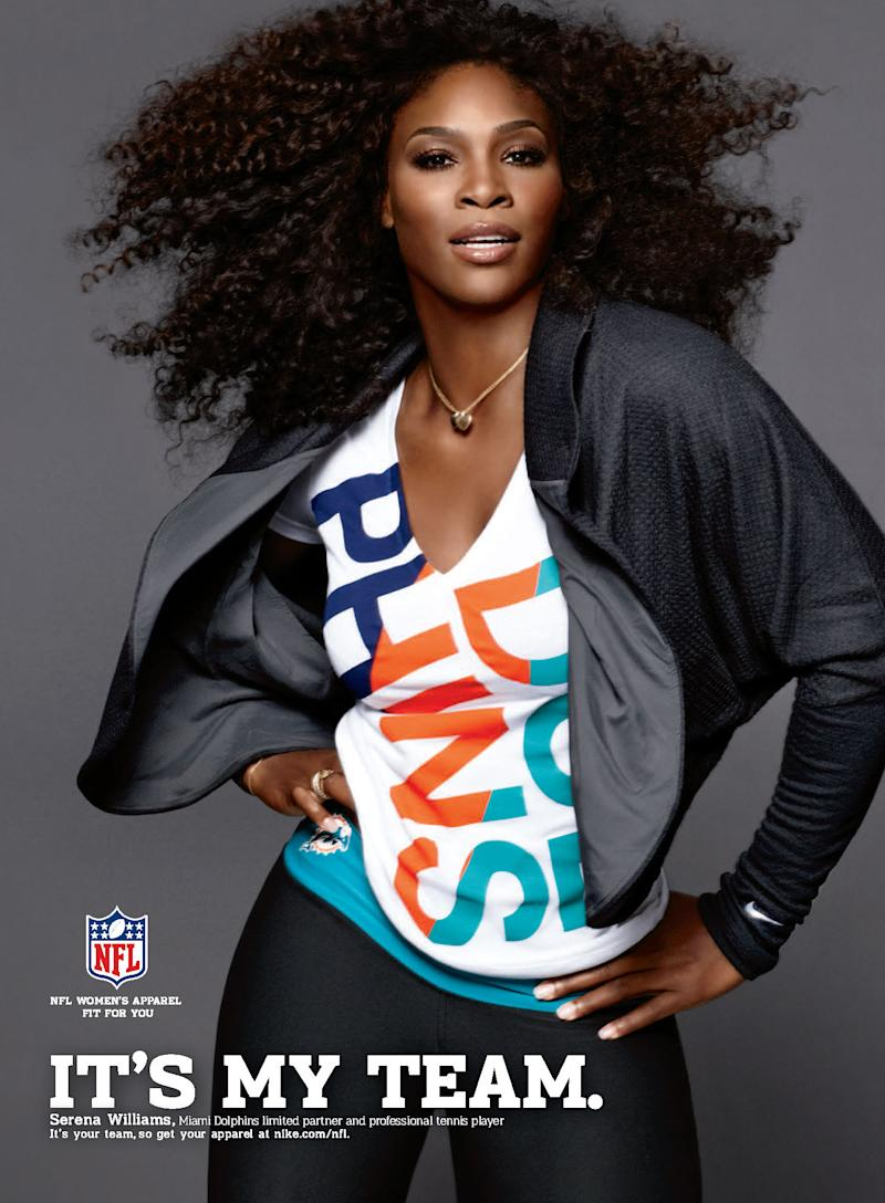 "This advertising image released by the NFL shows Serena Williams wearing a Miami Dolphins jersey.  Williams, Melania Trump, wife of Donald Trump and former Secretary of State Condoleezza Rice are among the NFL fans who'll be appearing in ads promoting team-themed apparel and gear next week in a campaign called ""It's My Team."" Williams, who is not only a fan but also a limited partner in the Miami Dolphins, wears her team colors in a graphic T-shirt paired with a dressy little black jacket. The image makes its debut in September magazines. (AP Photo/NFL)"