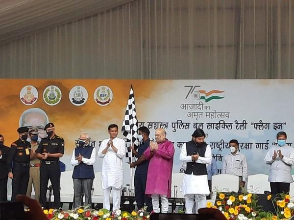 Amit Shah at the flagging off ceremony of all-India car rally 'Sudarshan Bharat Parikrama' in Delhi on Saturday.