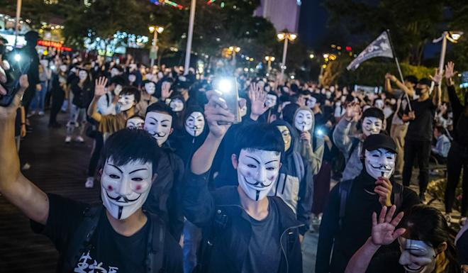 On Monday, judges ruled Hong Kong leader Carrie Lam's use of a colonial-era Emergency Regulations Ordinance, invoked on the grounds of public danger, to enact the mask ban unconstitutional. Photo: Bloomberg