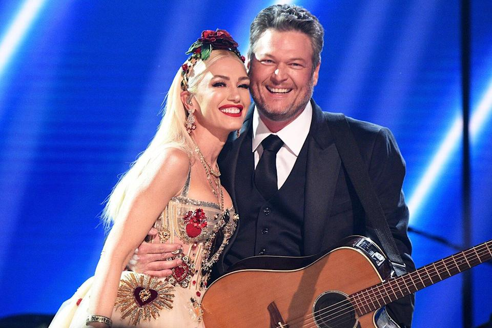 Gwen Stefani and Blake Shelton pose onstage during the 62nd Annual GRAMMY Awards at STAPLES Center on January 26, 2020 in Los Angeles, California.