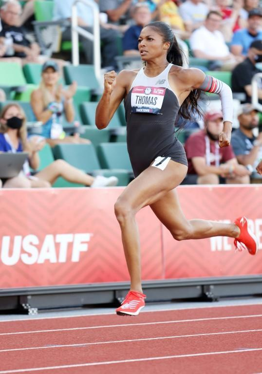Gift of the Gab: Gabby Thomas clocked the fastest 200m time in the world for the second day running to qualify for Saturday's final at the US Olympic trials