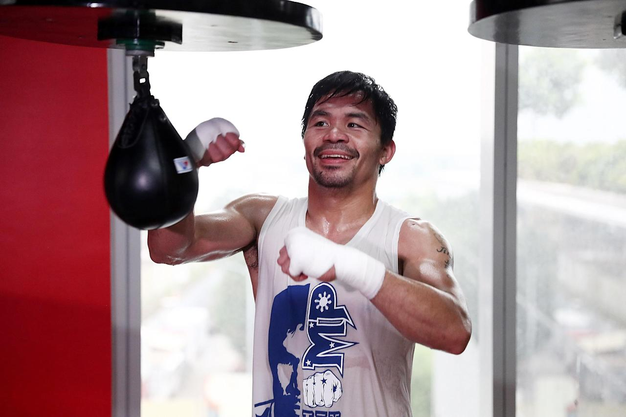 Manny Pacquiao trains ahead of his fight with Jeff Horn in Australia.