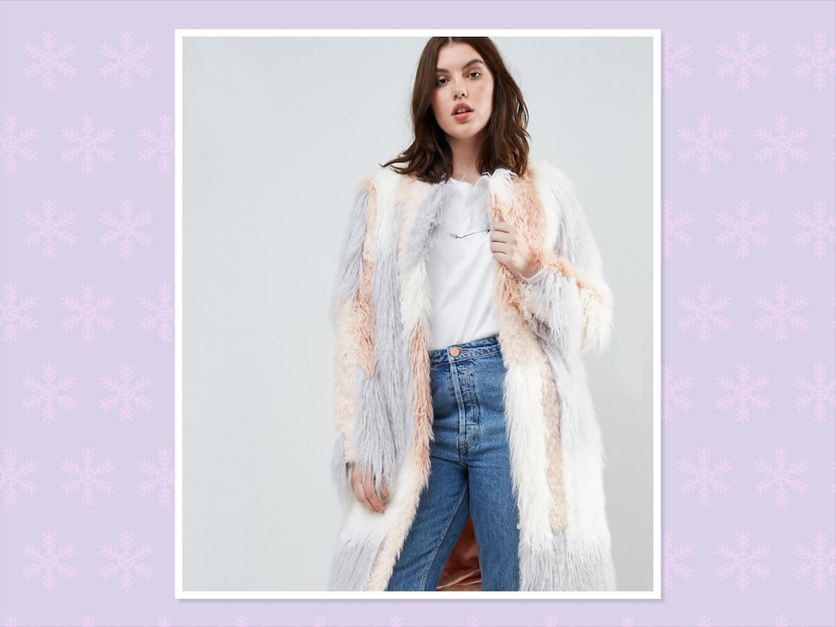 "<p>ASOS Curve faux fur Mongolian coat, $151, <a rel=""nofollow"" href=""http://us.asos.com/asos-curve/asos-curve-patched-faux-fur-mongolian-coat/prd/8458317?clr=pink&cid=9582&pgesize=36&pge=0&totalstyles=101&gridsize=3&gridrow=3&gridcolumn=1"">ASOS</a> (Photo: ASOS) </p>"