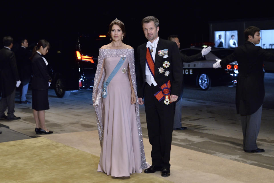 Crown Prince Frederik and Crown Princess Mary of Denmark arrive to attend the court banquet at the Imperial Palace on Oct. 22, 2019 in Tokyo, (David Mareuil/Pool Photo via AP)