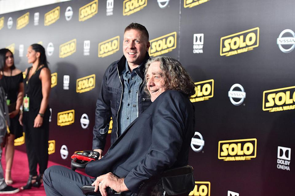 <p>Ray Park (Darth Maul) and Peter Mayhew (Chewbacca) (2018 Getty Images) </p>