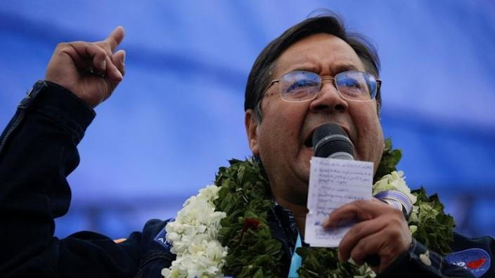 Presidential candidate Luis Arce of the Movement to Socialism party (MAS) speaks during a closing campaign rally ahead of the Bolivian presidential election, in El Alto, on the outskirts of La Paz, Bolivia, October 14, 2020