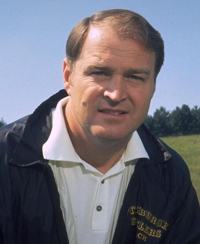 File- This 1971 file photo shows Chuck Noll, head coach of the Pittsburgh Steelers. Noll, the Hall of Fame coach who won a record four Super Bowl titles with the Pittsburgh Steelers, died Friday, June 13, 2014, at his home. He was 82. The Allegheny County Medical Examiner said Noll died of natural causes. (AP Photo/File)