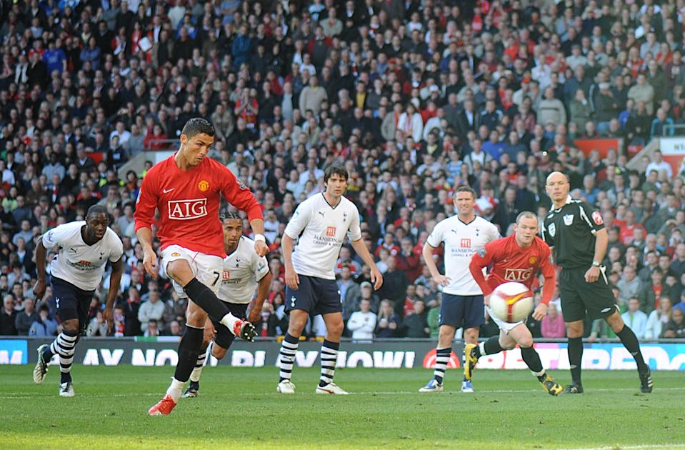 Tottenham were winning 2-0 when Manchester United's Cristiano Ronaldo won a penalty. United went on to win the game 5-2, but did this turn the game and was there contact? (25 April 2009)