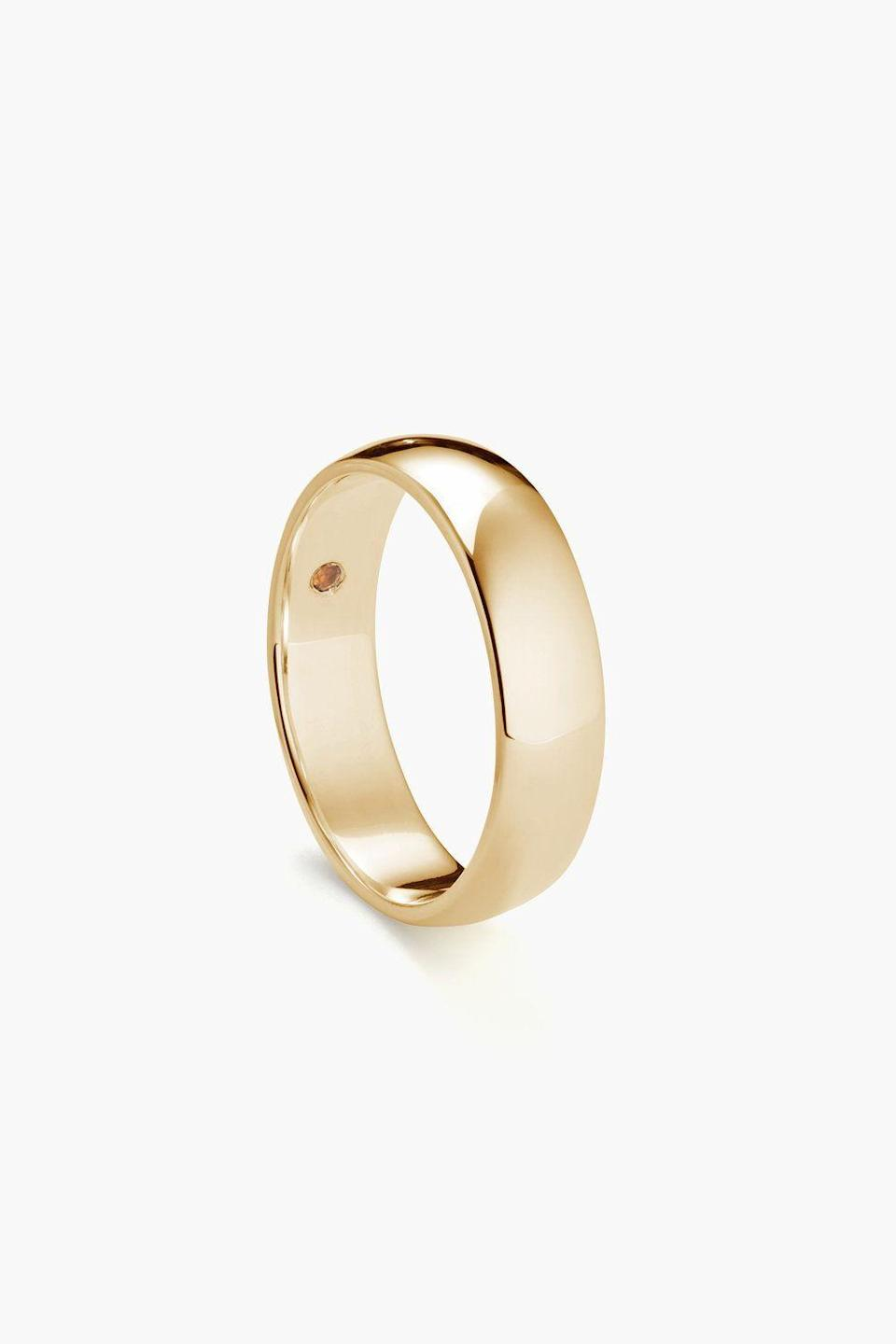 "<p><strong>Yellow Gold Ring</strong></p><p>misterok.com</p><p><strong>$850.00</strong></p><p><a href=""https://www.misterok.com/shop/round-6mm-yellow-gold-wedding-ring"" rel=""nofollow noopener"" target=""_blank"" data-ylk=""slk:Shop Now"" class=""link rapid-noclick-resp"">Shop Now</a></p><p>Jewelry has always been the stylish man's way of differentiating himself from others. A simple gold band (worn on his pinky or middle finger) with a secret birthstone hidden on the inside is a perfect heirloom edition to his collection.</p>"