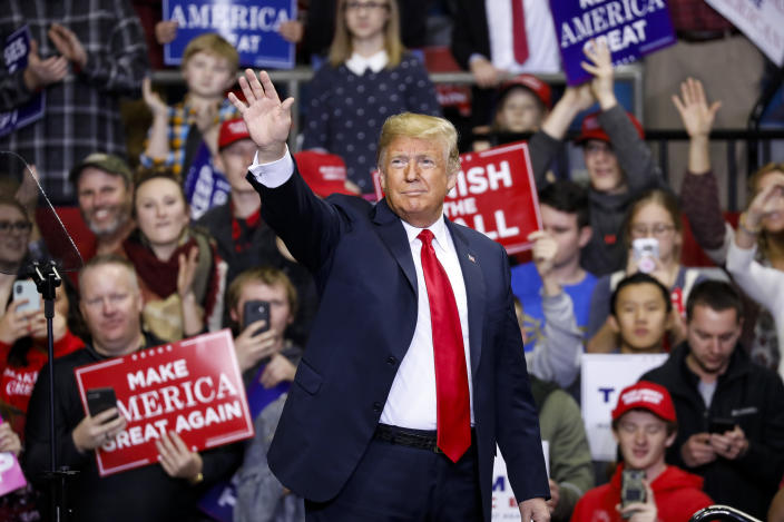 President Trump at a campaign rally in Fort Wayne, Ind. (Aaron P. Bernstein/Getty Images)
