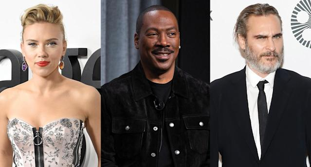 Scarlett Johansson, Eddie Murphy and Joaquin Phoenix are among the actors nominated for Golden Globes in 2020. (Photo: Getty Images)