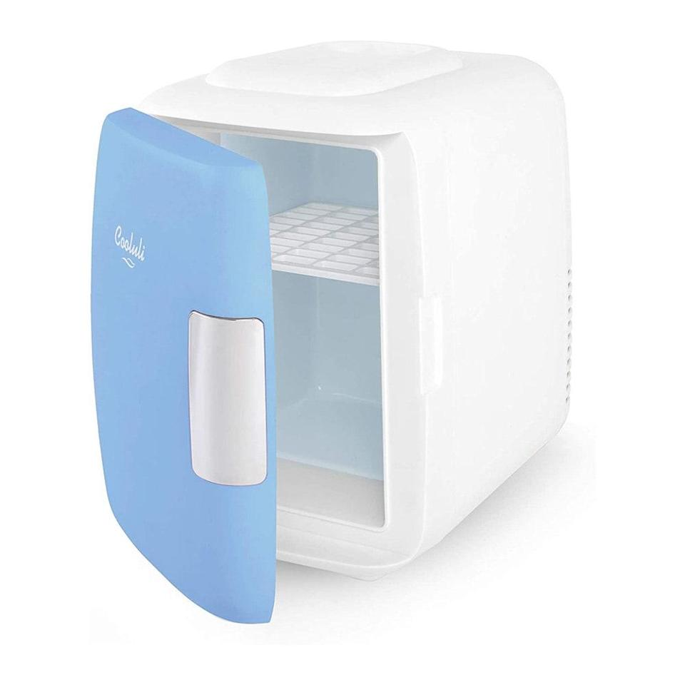 """<p>This is not your average mini-fridge. The Cooluli Mini Fridge can switch from cooling to heating in seconds, so they can transport your lunch <em>and</em> warm it up in the same container. Power it via a wall outlet, carport, or built-in battery, and choose from six different colors and designs. And beauty lovers will also love using it to <a href=""""https://www.allure.com/gallery/best-makeup-organizers-storage?mbid=synd_yahoo_rss"""" rel=""""nofollow noopener"""" target=""""_blank"""" data-ylk=""""slk:store skin-care products"""" class=""""link rapid-noclick-resp"""">store skin-care products</a> for an extra-cooling effect.</p> <p><strong>$70</strong> (<a href=""""https://www.amazon.com/Cooluli-Fridge-Electric-Cooler-Warmer/dp/B01G7IL476"""" rel=""""nofollow noopener"""" target=""""_blank"""" data-ylk=""""slk:Shop Now"""" class=""""link rapid-noclick-resp"""">Shop Now</a>)</p>"""
