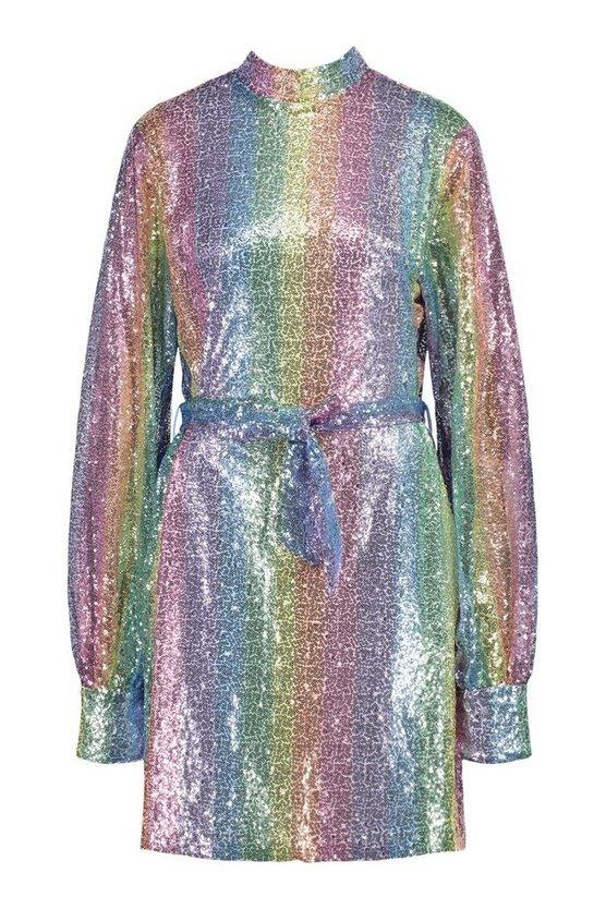 Sequinned rainbow dress for Mardi Gras from Boohoo