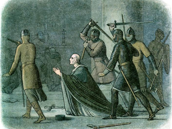 Vintage colour engraving from 1864 showing the murder of Thomas Becket in Canterbury Cathedral: Getty