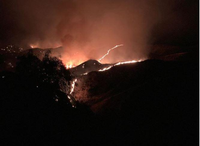 The Bruder Fire had burned 100 acres in Redlands after igniting Wednesday, Oct. 14, 2020.