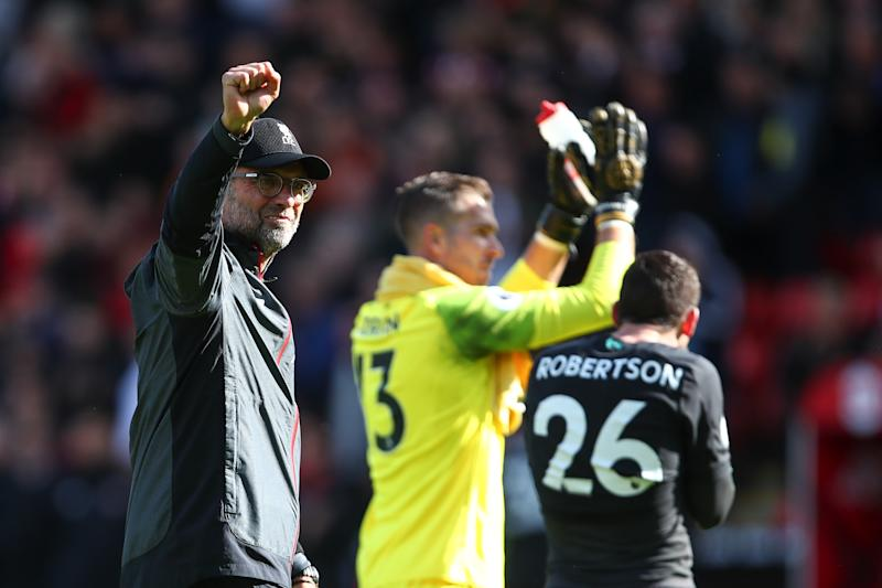 SHEFFIELD, ENGLAND - SEPTEMBER 28: Jurgen Klopp the head coach / manager of Liverpool celebrates at full time during the Premier League match between Sheffield United and Liverpool FC at Bramall Lane on September 28, 2019 in Sheffield, United Kingdom. (Photo by Robbie Jay Barratt - AMA/Getty Images)