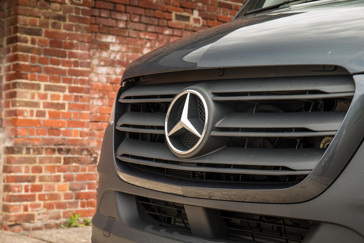 The Sprinter displays its Mercedes badge proudly