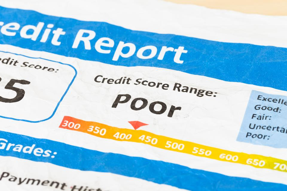 A poor credit score can leave you with fewer lending options. (Photo: Getty)