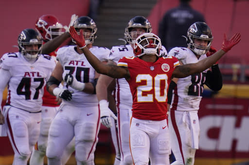 Kansas City Chiefs' Antonio Hamilton (20) after Atlanta Falcons place kicker Younghoe Koo missed a 39-yard field goal during the second half of an NFL football game, Sunday, Dec. 27, 2020, in Kansas City. The Chiefs defeated the Falcons 17-14. (AP Photo/Jeff Roberson)