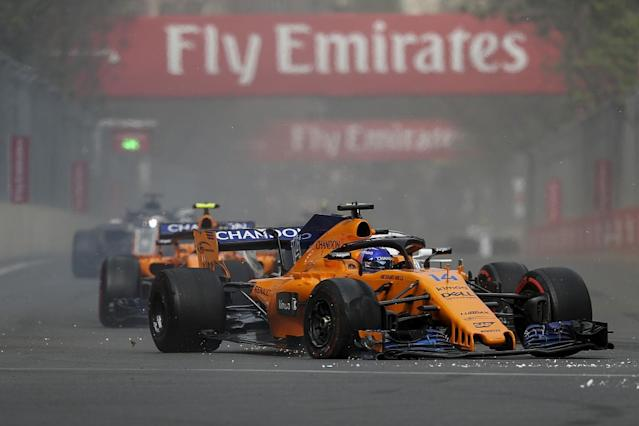 "Fernando Alonso believes other drivers would have ""parked their cars"" had they suffered the kind of damage he had at the start of Formula 1's Azerbaijan Grand Prix"
