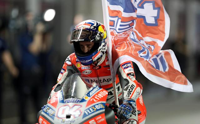 Motorcycle Racing - Qatar Motorcycle Grand Prix - MotoGP race - Losail, Qatar - March 18, 2018 - Ducati Team rider Andrea Dovizioso of Italy after winning the race. REUTERS/Ibraheem Al Omari