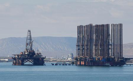 FILE PHOTO: An offshore oil rig is seen in the Caspian Sea near Baku