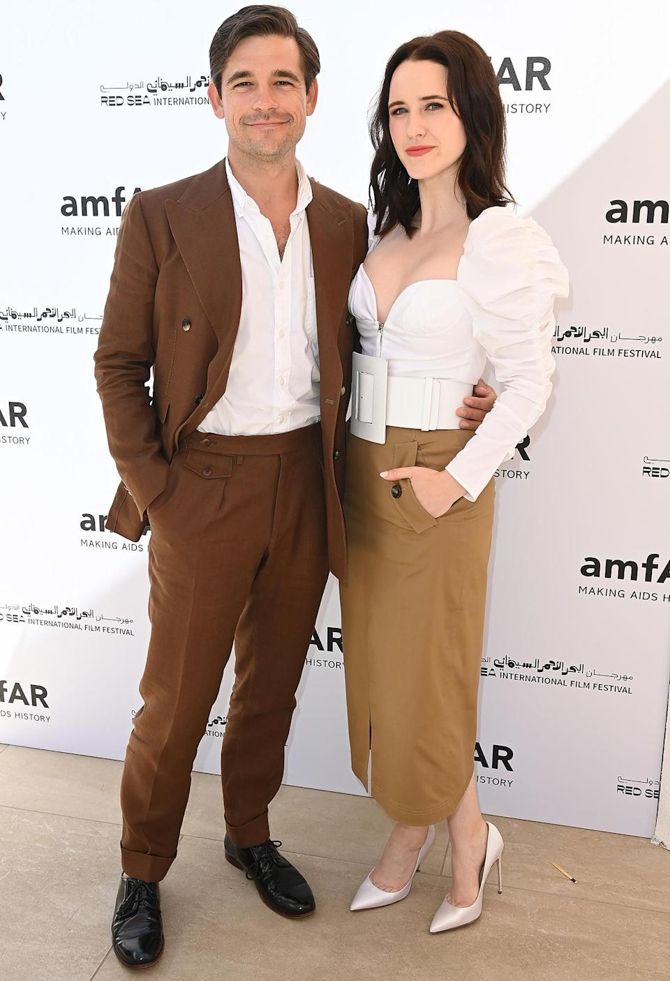 <p>Jason Ralph and Rachel Brosnahan attend the Pre-amfAR gala lunch, hosted by the Red Sea International Film Festival, during the 74th annual Cannes Film Festival on July 15 in Antibes, France.</p>
