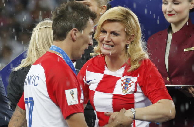 Croatian President Kolinda Grabar-Kitarovic after the Fifa World Cup final loss to France