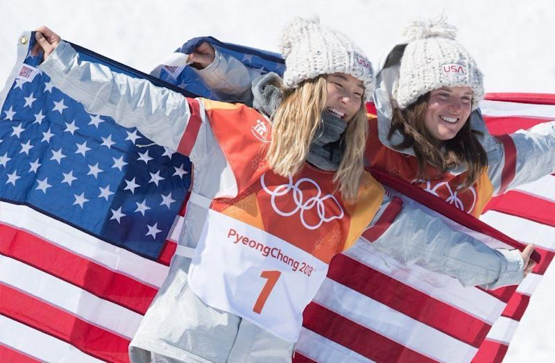 U.S.' Chloe Kim and Arielle Gold celebrate after placing first and third in the women's snowboard halfpipe finals in 2018.