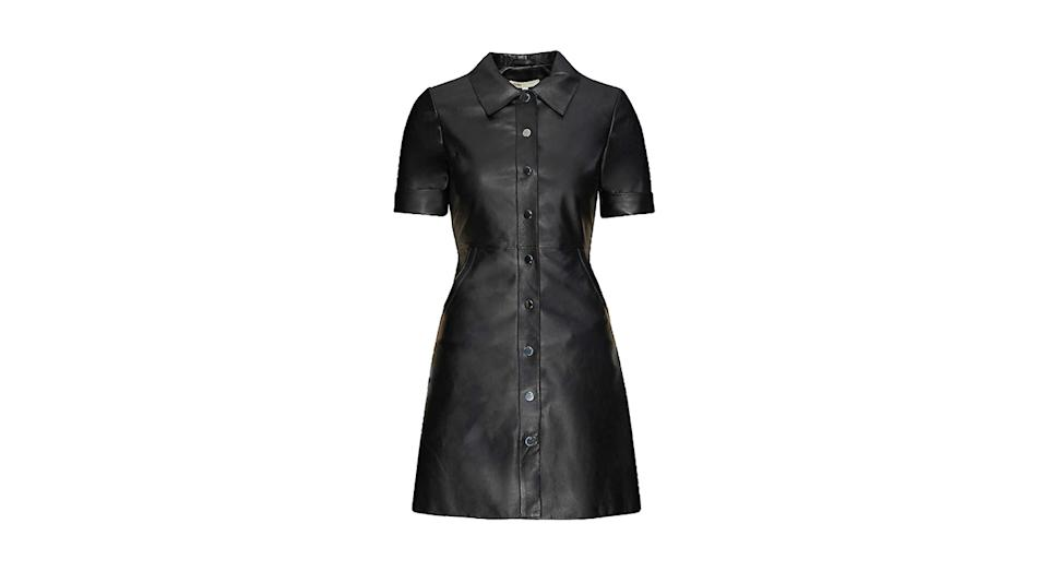 MAJE Collared leather mini dress